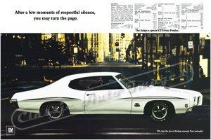 "1970 Pontiac GTO Judge Ad Digitized & Re-mastered Poster Print ""Respectful Silence 2"" 24"" x 36"""