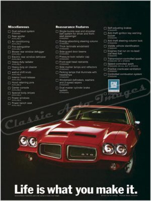 "1972 Pontiac GTO Ad Digitized & Re-mastered Poster Print ""Life is What You Make It"" 24"" x 32"""