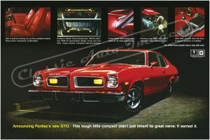 "1974 Pontiac GTO Ad Digitized & Re-mastered Poster Print ""Earned It"" 24"" x 36"""