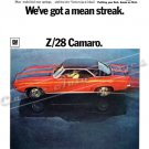 "1969 Camaro Z/28 Ad Digitized & Re-mastered Poster Print ""We've Got a Mean Streak"" 24"" x 32"""