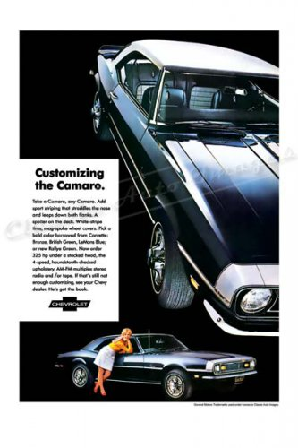 "1968 Chevrolet Camaro Ad Digitized & Re-mastered Print ""Customizing the Camaro""  24"" x 36"""