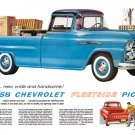 "1958 Chevrolet Fleetside Ad Digitized & Re-mastered Print ""New, Wide and Handsome"" 18"" x 24"""
