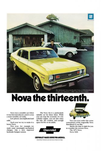 "1974 Chevrolet Nova Ad Digitized & Re-mastered Print ""Nova the Thirteenth"" 18"" x 24"""