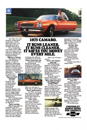 "1975 Chevrolet Camaro Ad Digitized & Re-mastered Print ""It Runs Leaner""  24"" x 36"""