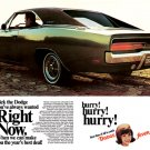 "1969 Dodge Charger Ad Digitized & Re-mastered Print ""Hurry! Hurry! Hurry!""  24"" x 36"""