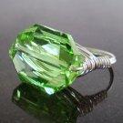 Stunning Swarovski Peridot Ring (Sterling)