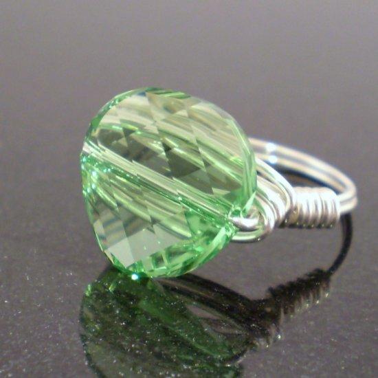 Stunning Swarovski Peridot Ring in Sterling Silver