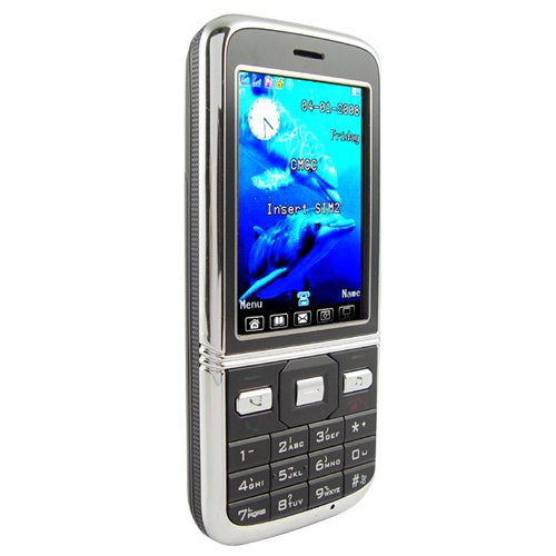 Quad Band Dual SIM Cellphone - Slim Touchscreen Mobile (Black)