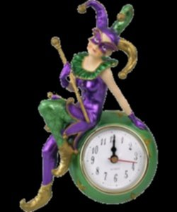 Purple Green & Gold Standing Mardi Gras Jester Clock
