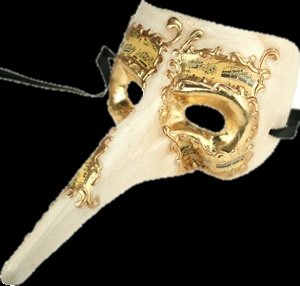 Elegant White & Gold Casanova Long Nose Masquerade Mask