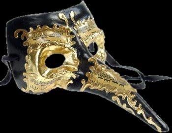Black & Gold Long Nose Masquerade Mask