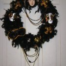 Black Feather SAINTS WREATH Fluer de Lis Beads Mask