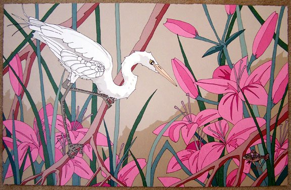 Dan Goad White Egret with Fish Signed #'ed Art Print