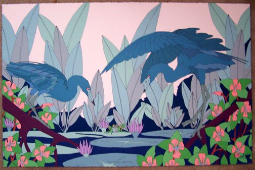 Dan Goad Two Herons with Frog Signed #'ed Art Print