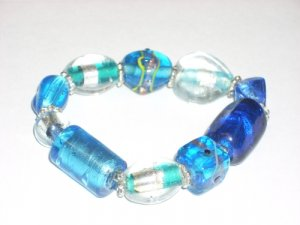 Glass Foil Bracelets Small Wholesale Lot of (10) Free Shipping No Tax Beautiful and Unique