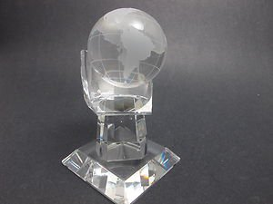 Glass Globe in hand, Gift crystal etched world