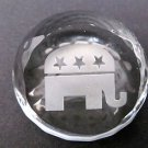 Crystal paperweight, glass, 24% LEAD CRYSTAL, REPUBLICAN
