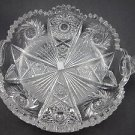 ABP cut glass 2 handle dish American brilliant period Antique