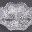 American Brilliant Period Cut Glass  8 sided dish   Antique crystal