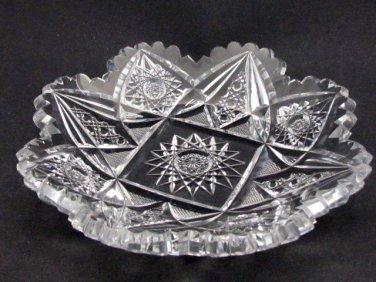 American Brilliant Period Cut Glass dish Straus or Blackmer  Antique
