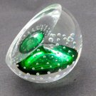 Green Glass  hand made paperweight air bubbles Half dome
