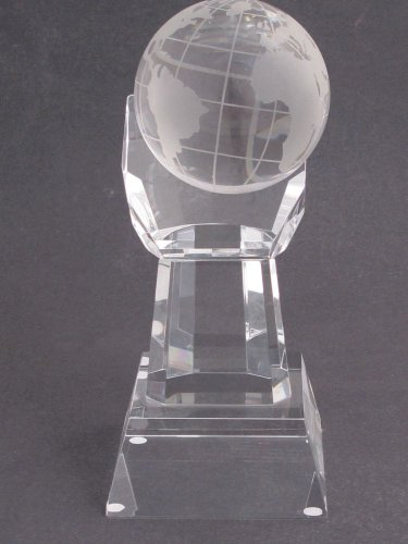 """Globe optical GLASS  in hand 5.25"""" high, Award Gift crystal"""