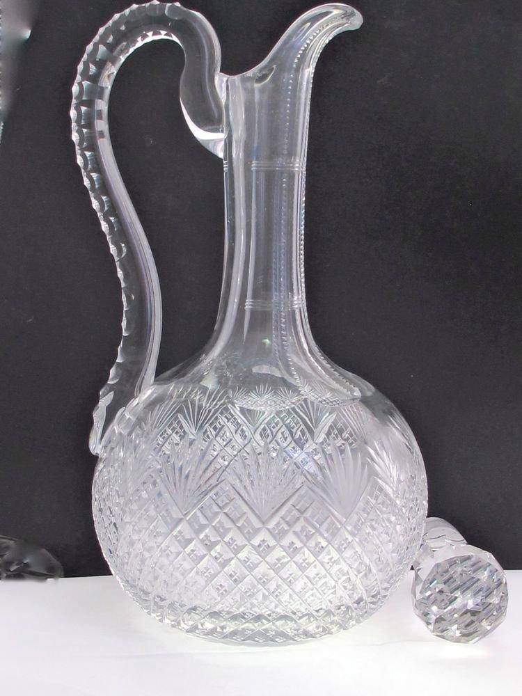 American Brilliant  Cut Glass Strawberry diamond & fan handled decanter Hawkes