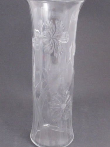 American Brilliant Period Hand Cut Glass  engraved FLORAL vase OPTIC BLANK