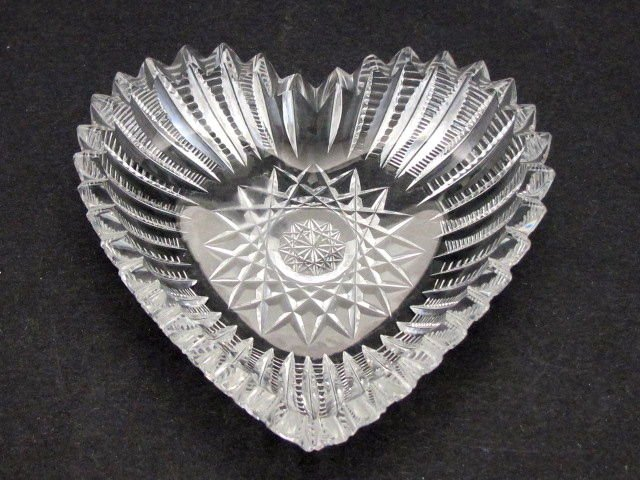American Brilliant Period Cut Glass heart shape dish  Antique abp crystal