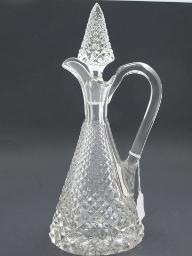 Hand Cut glass handled decanter  crosscut with stopper