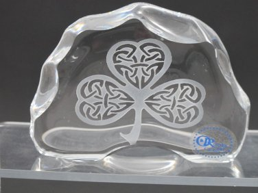 Celtic shamrock pattern paperweight, 24% lead crystal Great gift