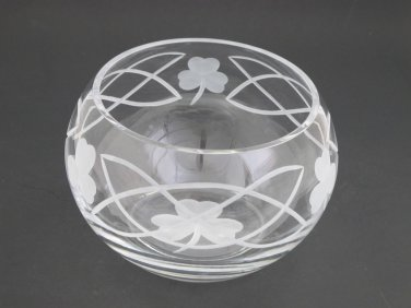 Hand cut lead crystal bowl, Shamrock celtic  Mouth blown, gift