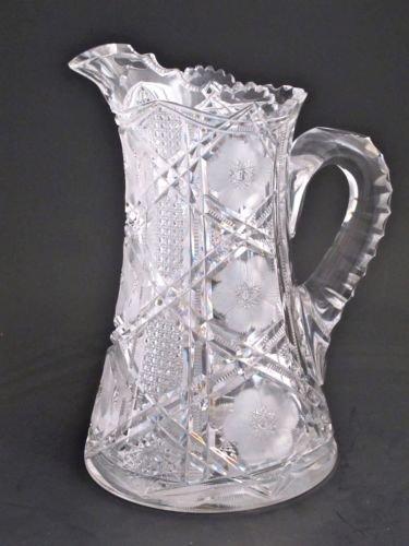 American Brilliant Period Cut Glass  pitcher ANTIQUE ABP