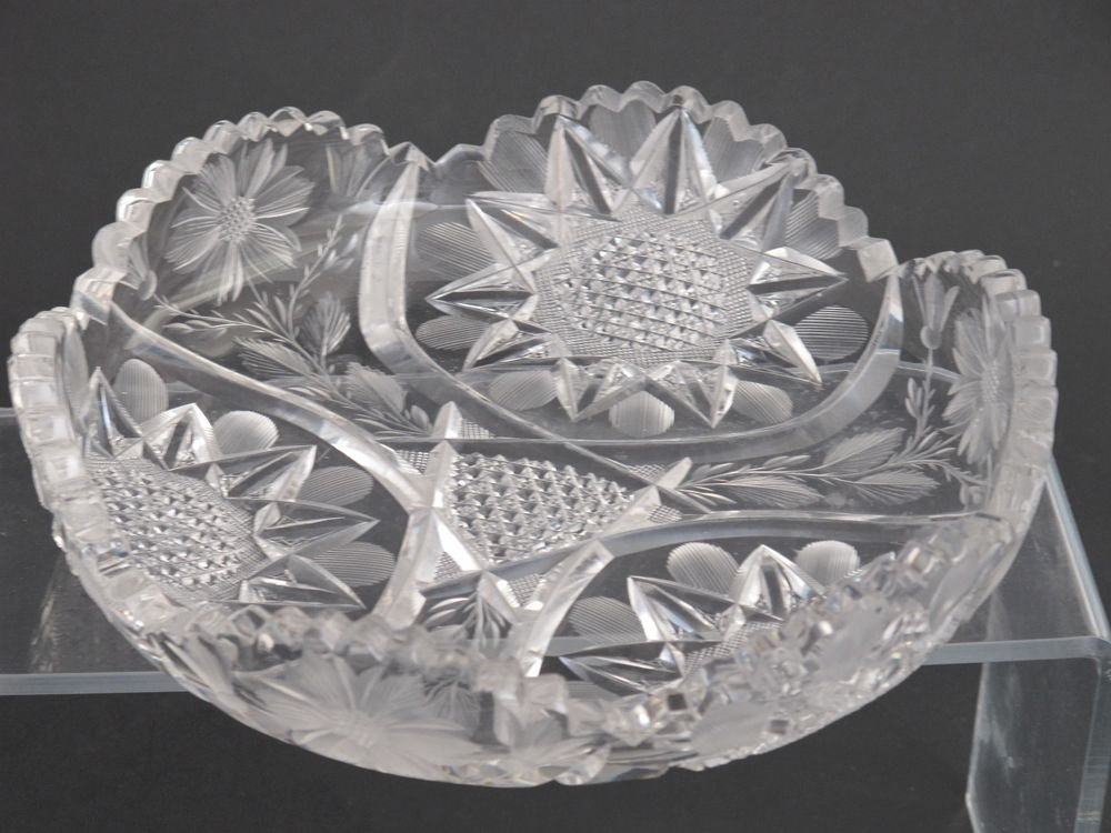 American Brilliant Period hand Cut Glass Signed Fry  dish ABP Antique