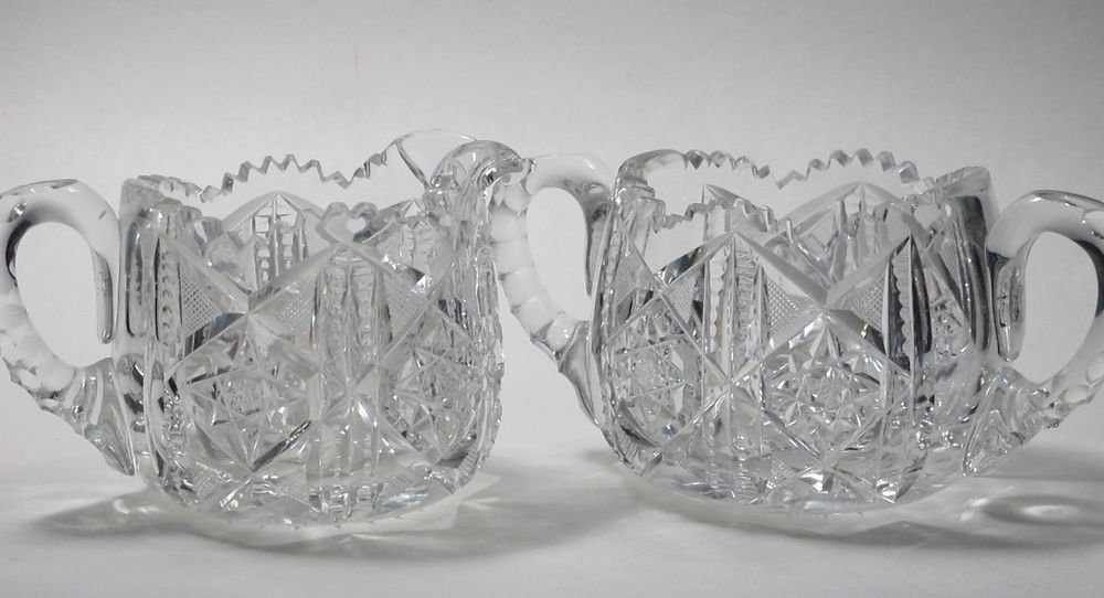 ABP Cut Glass sugar and creamer, Antique