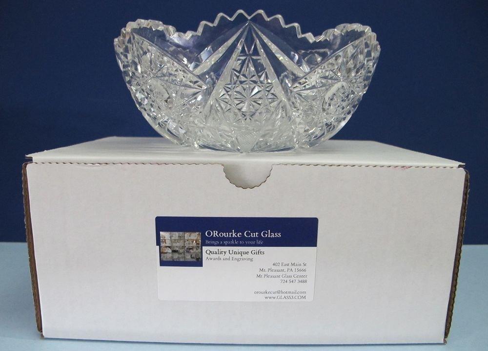 "American Brilliant Period hand Cut Glass Antique 7"" bowl ABP Wedding gift"