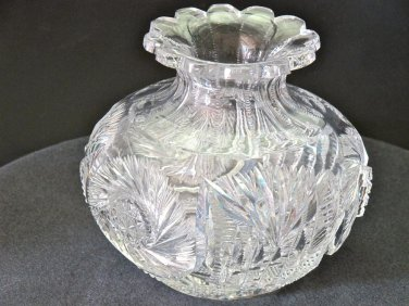 American Brilliant Period flower center Cut Glass blown  ABP  Antique
