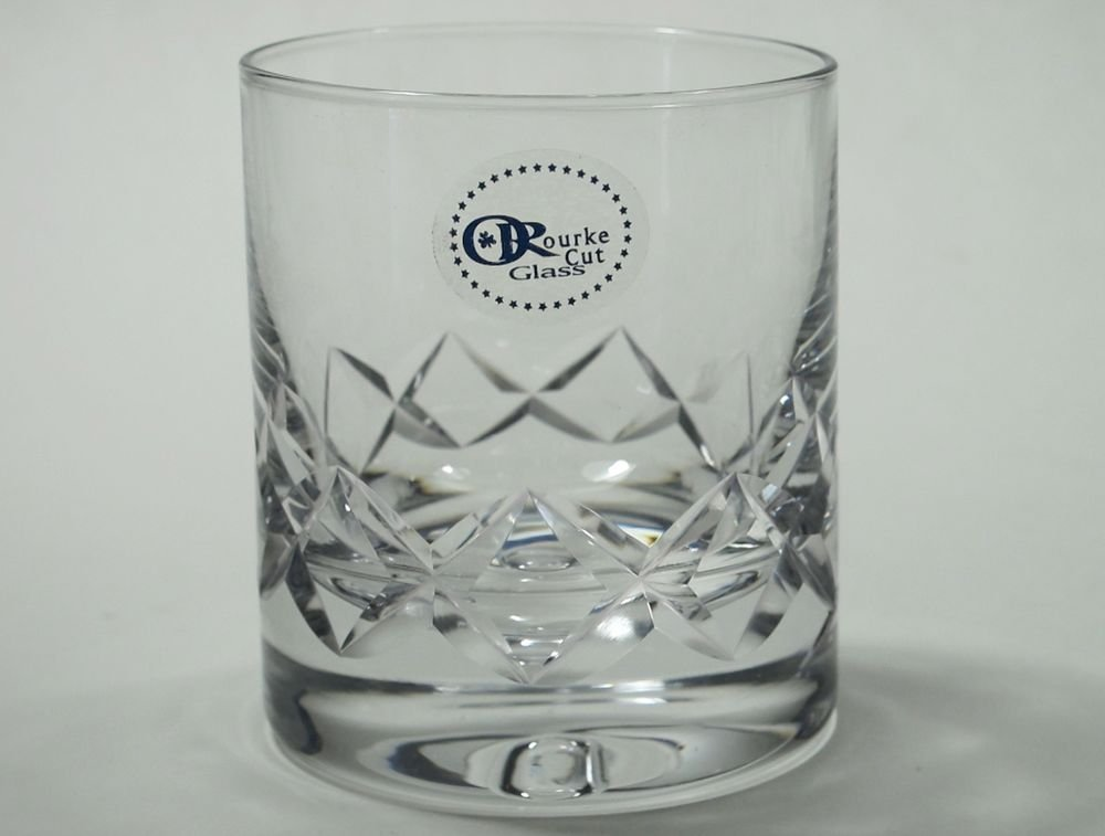 Signed ORourke CUT GLASS single on rocks single diamond pattern
