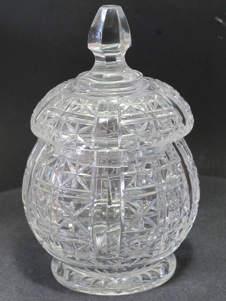 Hand Cut glass jar with lid
