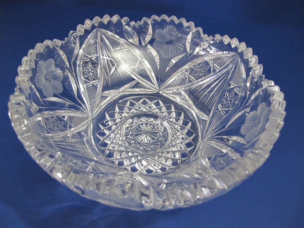 American Brilliant Period hand Cut Glass Antique  bowl ABP, Wedding gift