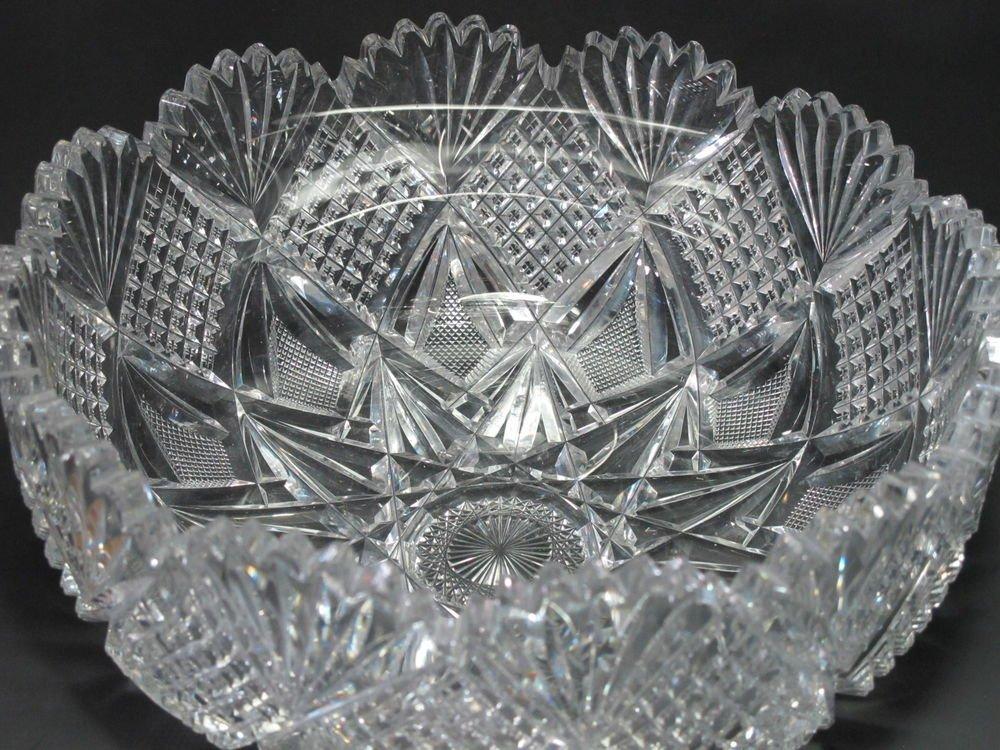 "American Brilliant Period Hawkes Cut Glass mouth blown 10"" bowl ABP  Antique"