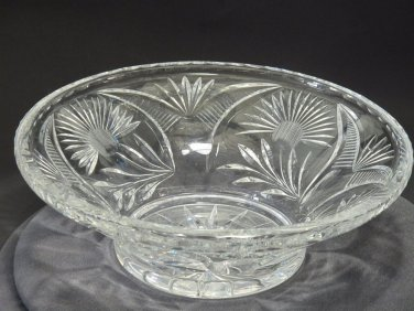 "Hand cut glass bowl 12"""