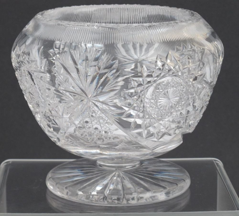 American Brilliant Period footed rose bowl Cut Glass blown  ABP  Antique