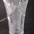 Hand cut glass vase, 24% lead crystal Great gift or award customize