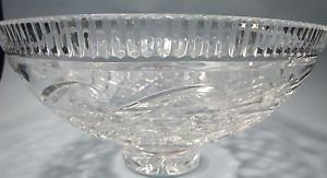 "Signed Waterford crystal 11"" footed bowl hand CUT glass"