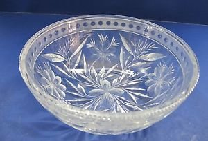 American Brilliant Period Cut Glass bowl  ABP  Antique Floral WHEEL CUT N