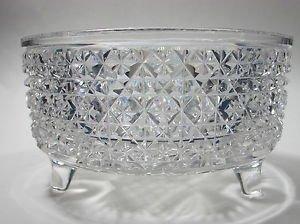 American Brilliant Period Hand Cut Glass legged bowl  abp sterling