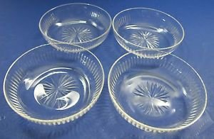 Hand Cut glass dishes 4 piece