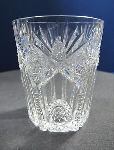 American Brilliant Period Cut Glass Tuetonic tumbler signed Hawkes