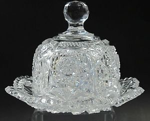American Brilliant Period hand Cut Glass Antique domed butter dish ABP